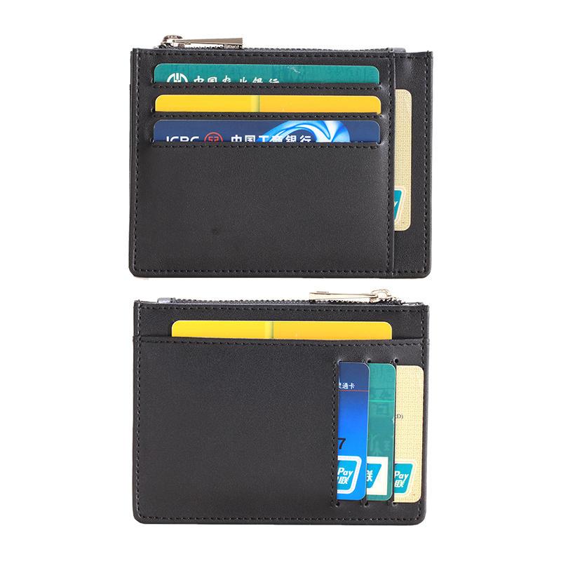 Rfid Blocking Front Pocket Wallet for Men Secure Credit Card Wallet Mini Card Holder with Zipper Durable Slim Wallets