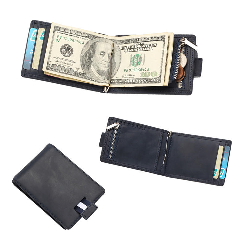 Slim RFID Black Leather Wallet Mens Money Clip Wallet LT-BMM011