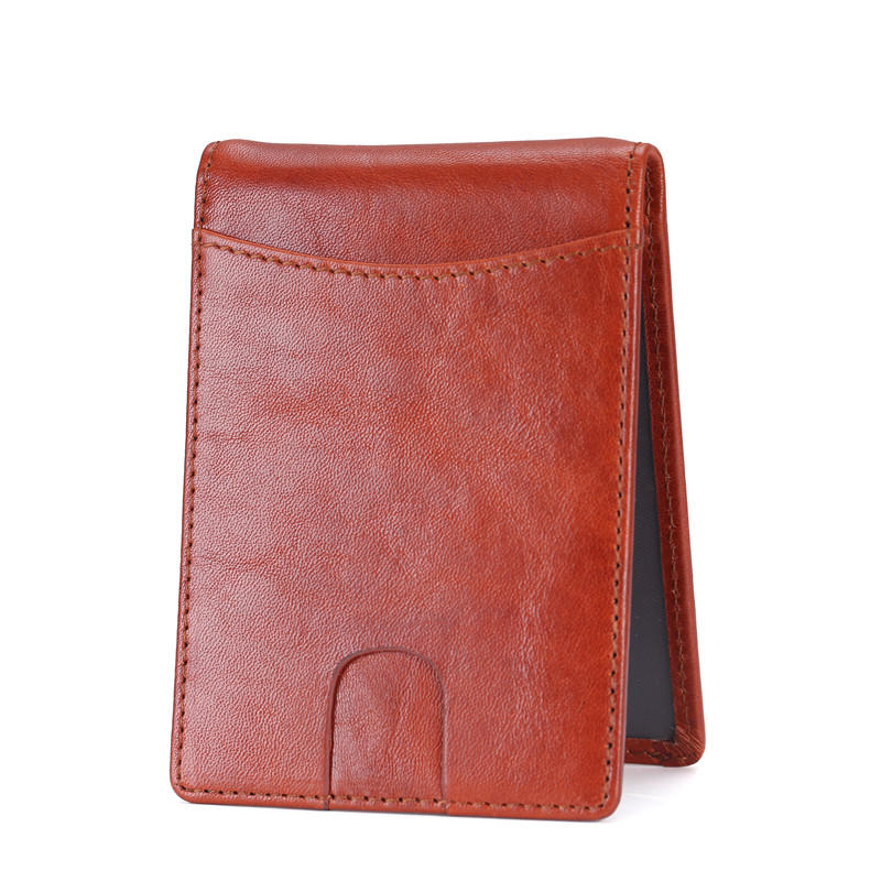 Men's RFID Blocking Genuine Leather SLIM Wallet Front Pocket Money Clip Wallet LT-BMM013
