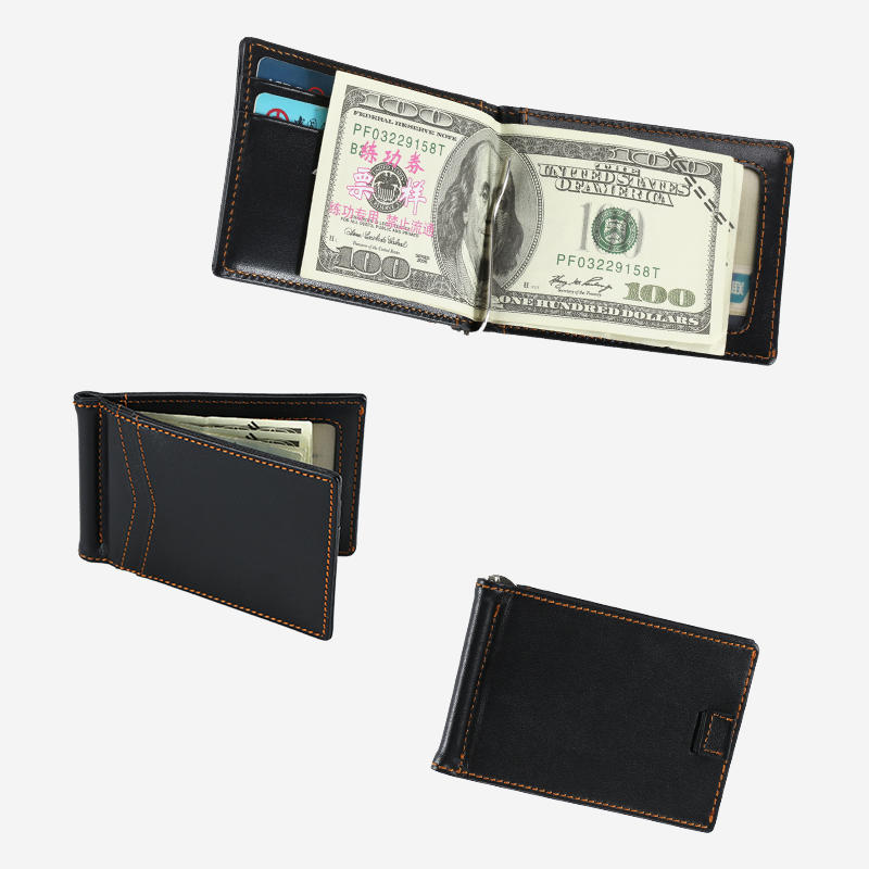 Men's RFID Blocking Genuine Leather Slim Wallet Front Pocket Money Clip Wallet LT-BMM015
