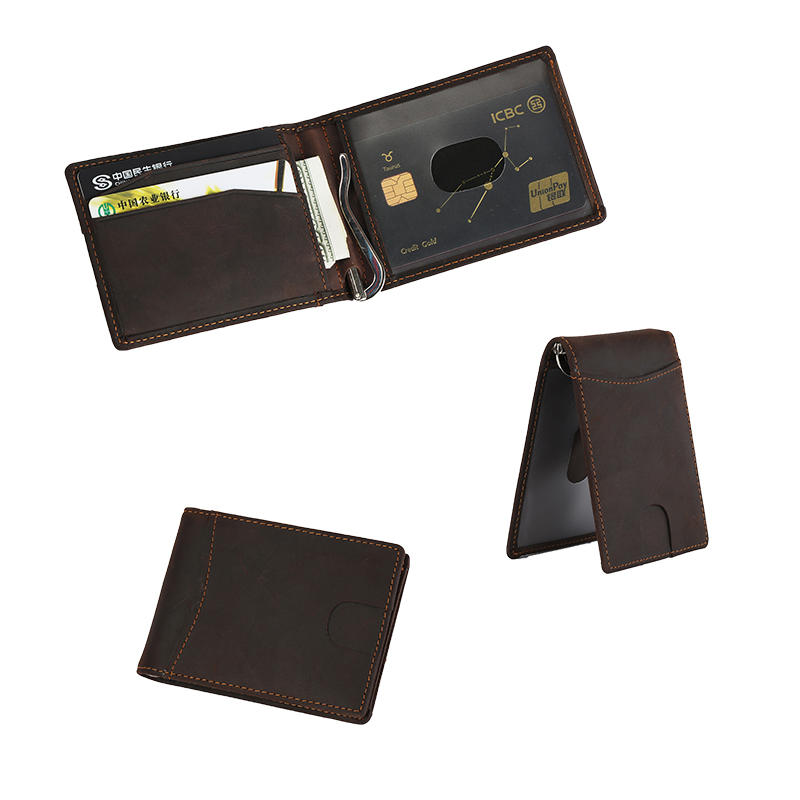 RFID Slim Bifold Genuine Leather Minimalist Front Pocket Money Clip Wallets LT-BMM016