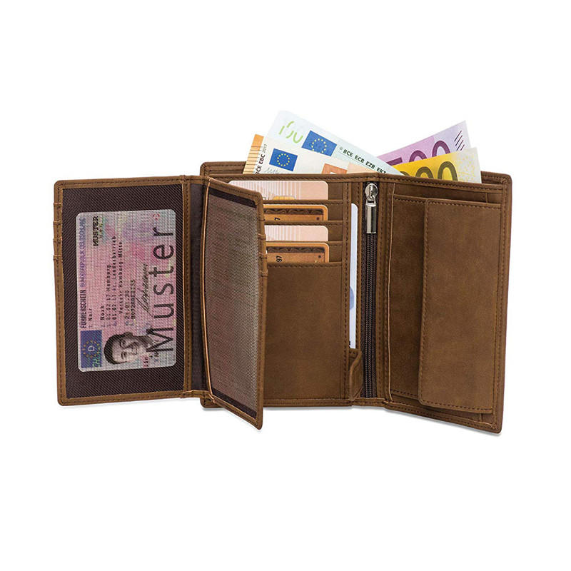 RFID Protection Large Coin Pocket Men Large Brown Wallet