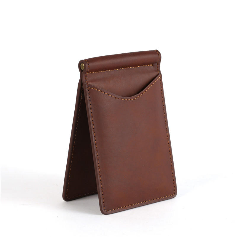 Men's Leather RFID Money Clip Slim Leather Wallet Factory LT-BMM018