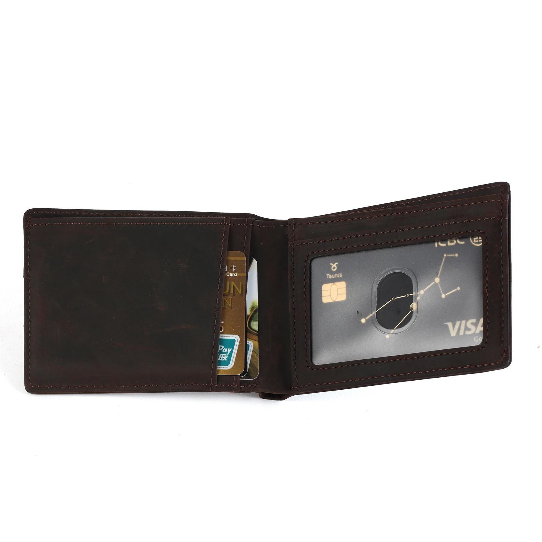 RFID Blocking Slim Bifold Genuine Leather Thin Minimalist Front Pocket Wallets LT-BMM019