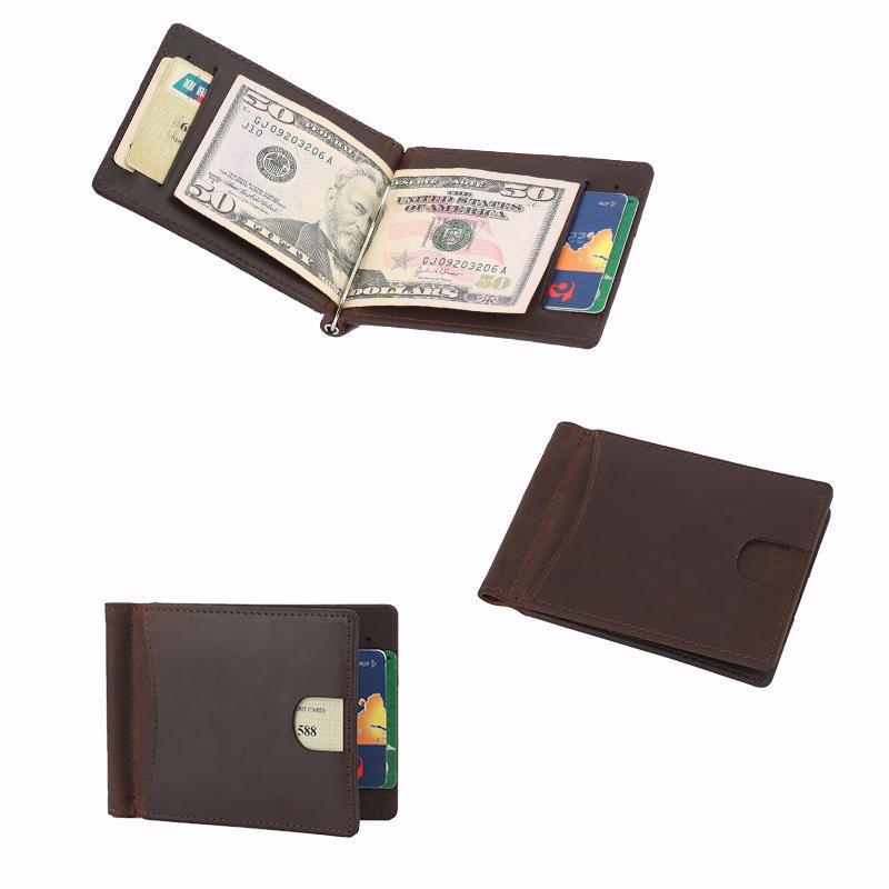 Leather Factory Crazy Horse Leather Elegant RFID Slim Money Clip Wallet LT-BMM024
