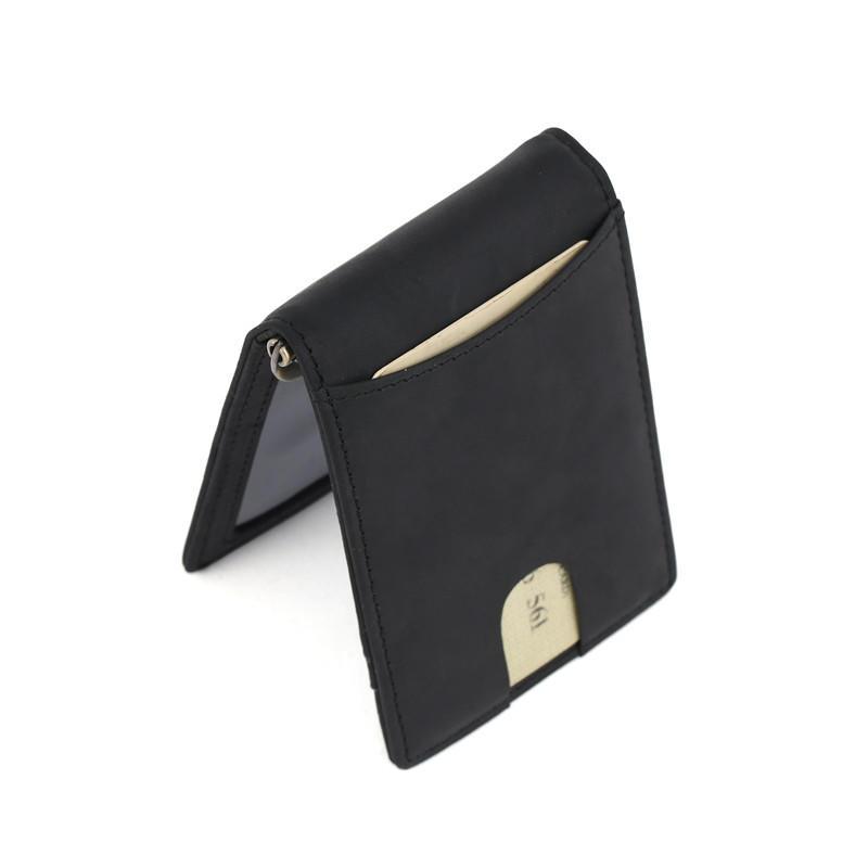 Black Leather Money Clip Wallet RFID Slim Mens Wallet LT-BMM027
