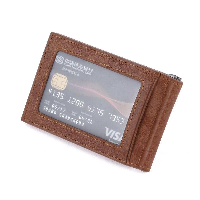 Money Clip Leather Wallet For Men Slim Front Pocket RFID Blocking Card Holder Wallet LT-BMM028