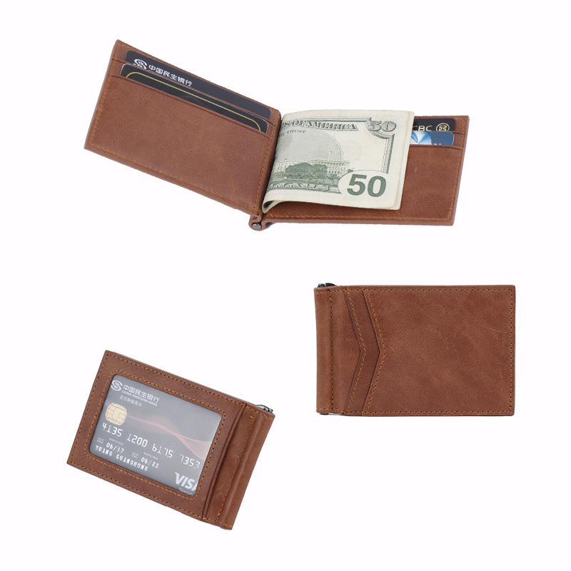 Money Clip Leather Wallet For Men Slim Front Pocket RFID Blocking Card Holder Wallet LT-BMM028