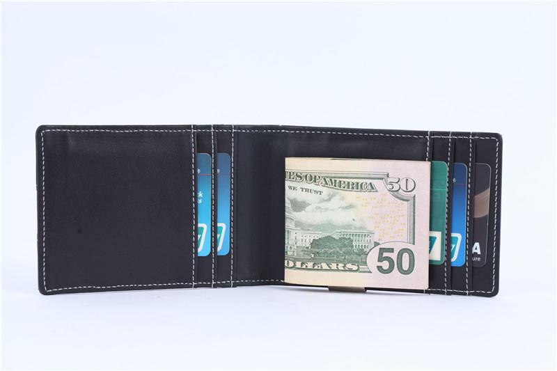 RFID Blocking Slim Bifold Genuine Leather Minimalist Front Pocket Money Clip Wallets LT-BMM033