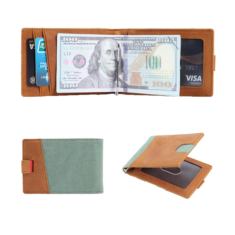 RFID Slim Bifold Leather Minimalist Front Pocket Money Clip Wallets LT-BMM039