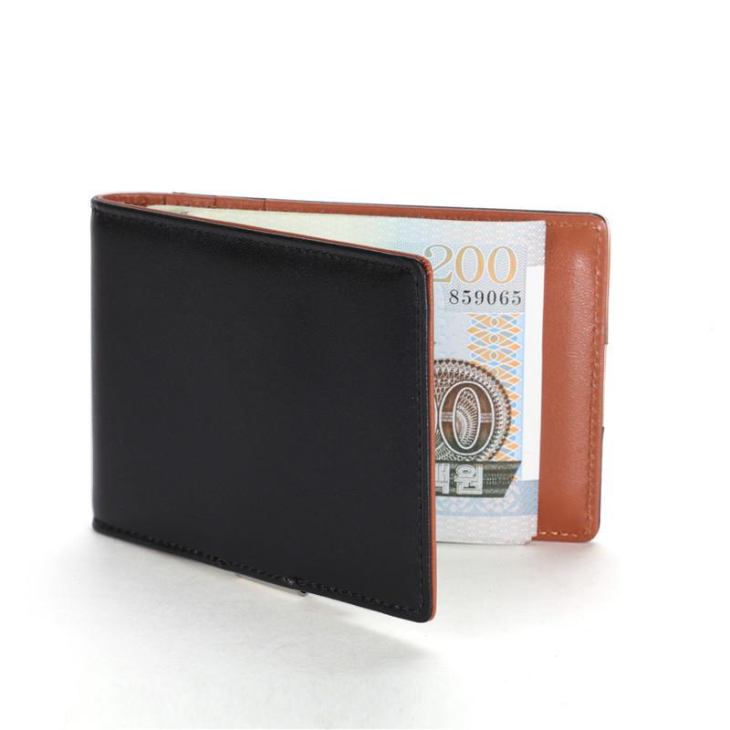 Wholesale Smooth Leather Money Clip Wallet RFID Minimalist Mini Bifold Wallet LT-BMM041