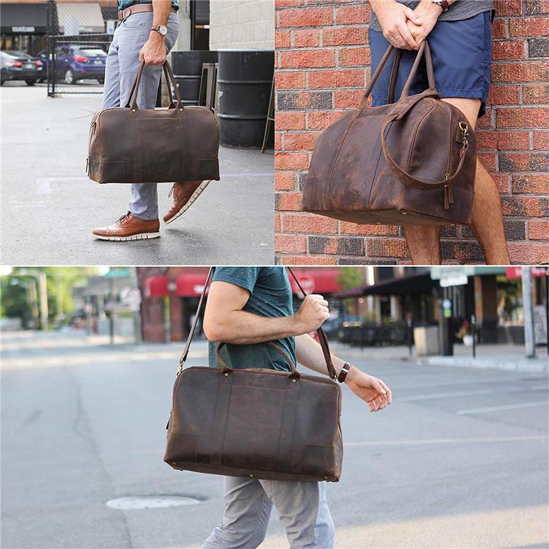 Travel Leather Duffel Bag Full Grain Premium Leather Weekender Luggage Bag LT-BMBR008