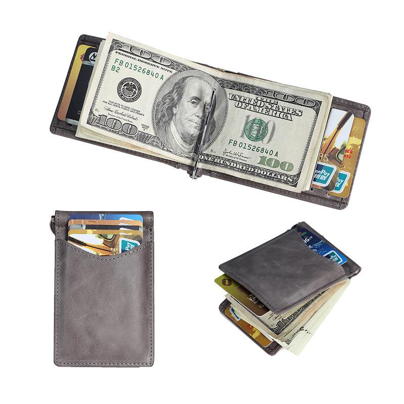 RFID Slim Minimalist Front Pocket Wallet Vintage Leather Wallet LT-BMM042