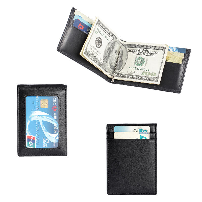 RFID Slim Bifold Leather Minimalist Front Pocket Money Clip Wallet With ID window LT-BMM043