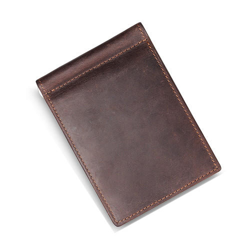 Crazy Horse Leather Men's Money Clip Slim Bifold Vintage Wallets LT-BMM044
