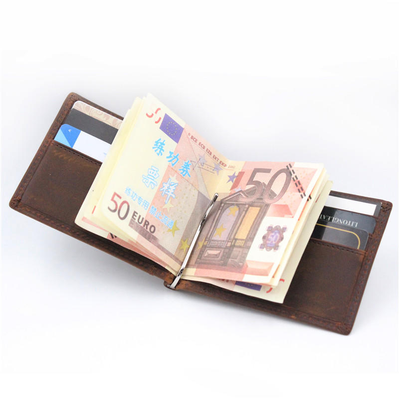 RFID Blocking Slim Bifold Leather Money Clip Minimalist Front Pocket Wallets LT-BMW096