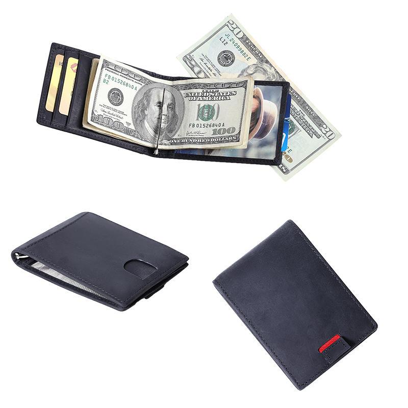Leather Men's RFID Slim Front Card ID window Money Clip Black Wallet LT-BMM047