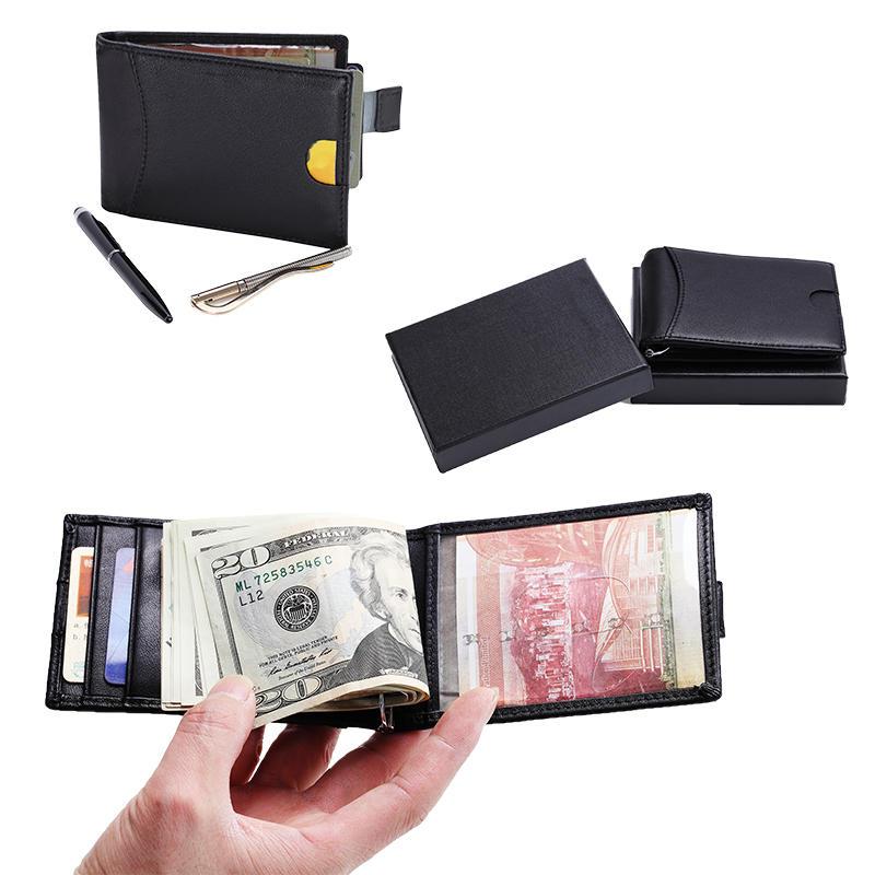 RFID Blocking Slim Bifold Leather Minimalist Front Pocket Money Clip Wallets LT-BMM049