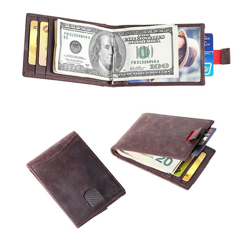 Genuine Leather Men's RFID Slim Credit Card Holder Money Clip Wallet LT-BMM050