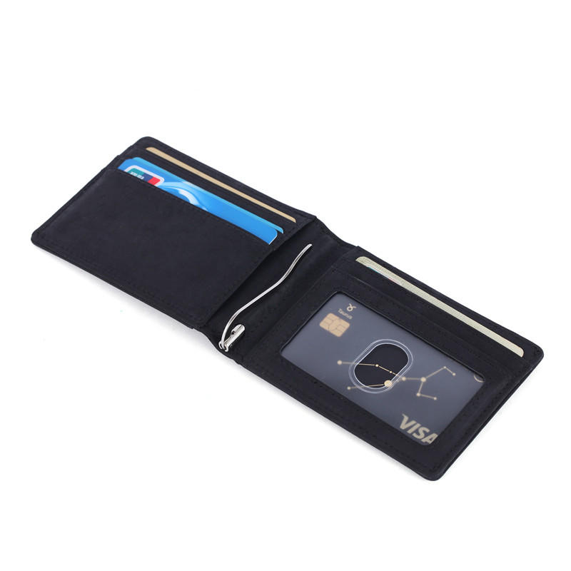 Leather Bifold Wallet With ID Window RFID Slim Leather Wallet For Men LT-BMM052