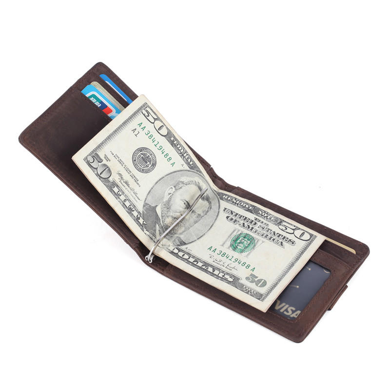 ODM Leather Bifold Wallet for With ID Window RFID Slim Crazy Horse Leather Wallet LT-BMM053