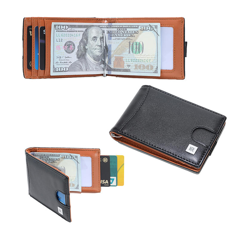 slim Front Pocket RFID Blocking Card Holder Minimalist Mini Bifold Mens Wallets LT-BMM055