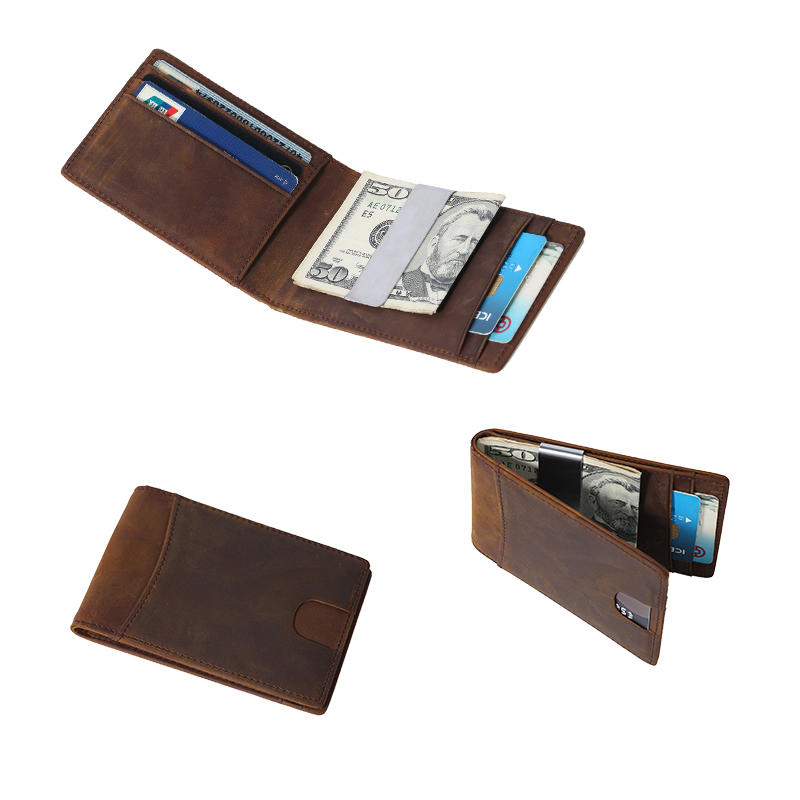 Men's RFID Vintage Italian Genuine Leather Slim Bifold Handmade Wallet LT-BMM060
