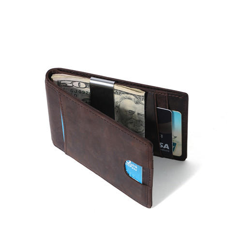 Wholesale Crazy Horse Leather Handmade Mini Men RFID Slim Wallet Card Holder Coin Wallet LT-BMM061