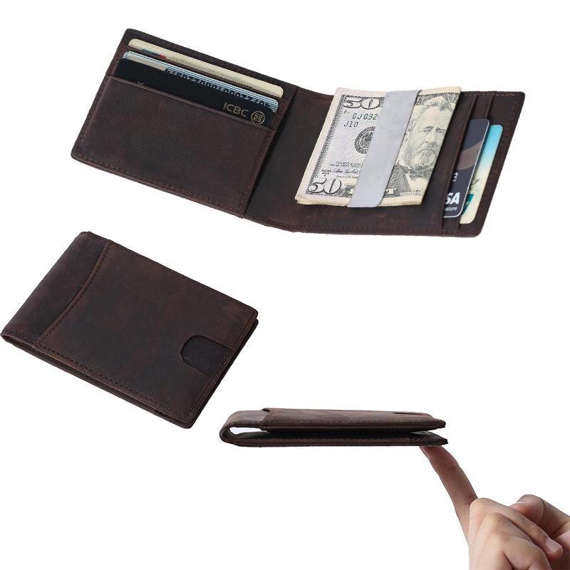 Wholesale Crazy Horse Leather Handmade Mini Men RFID Slim Wallet Card Holder Coin Wallet LT-BMM061