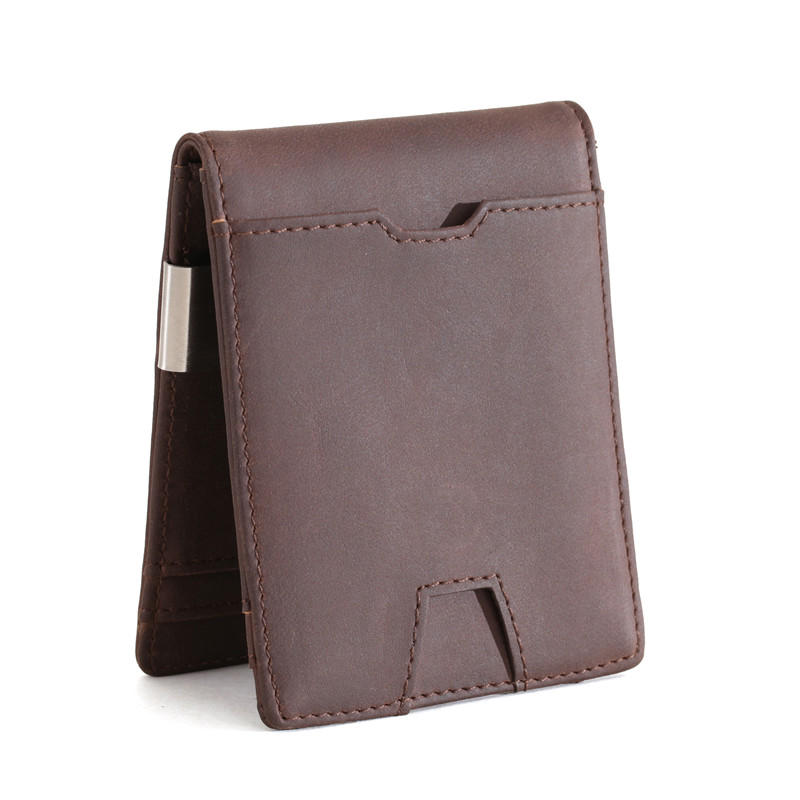Leather Supplier Money clip card pocket Slim wallet coin box RFID credit card Wallet LT-BMM062