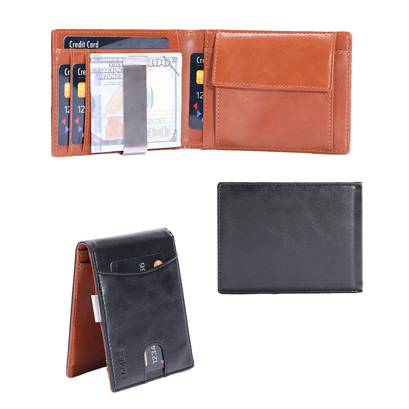 ODM/OEM Leather Money Clip Wallet Slim RFID Coin Poclet Mens Wallet LT-BMM063
