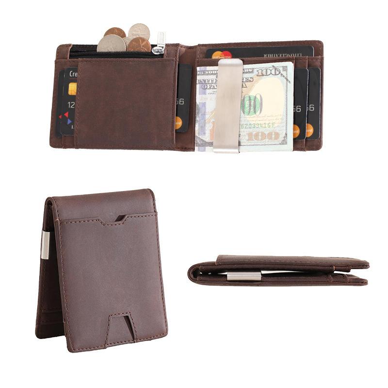 Leather Supplier Money clip card pocket Slim wallet coin box RFID credit card Wallet LT-BMM062