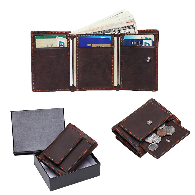 Trifold Leather Mens Wallet with RFID Crazy Horse Leather Wallet LT-BMW006