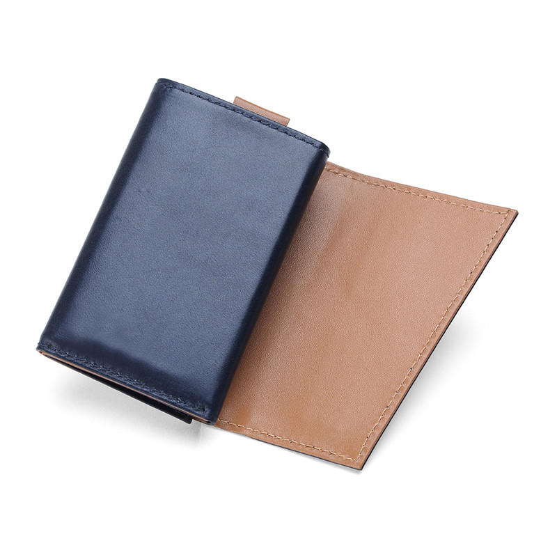 RFID Blocking Genuine Cowhide Leather Trifold Card Wallet for Men  LT-BMW008