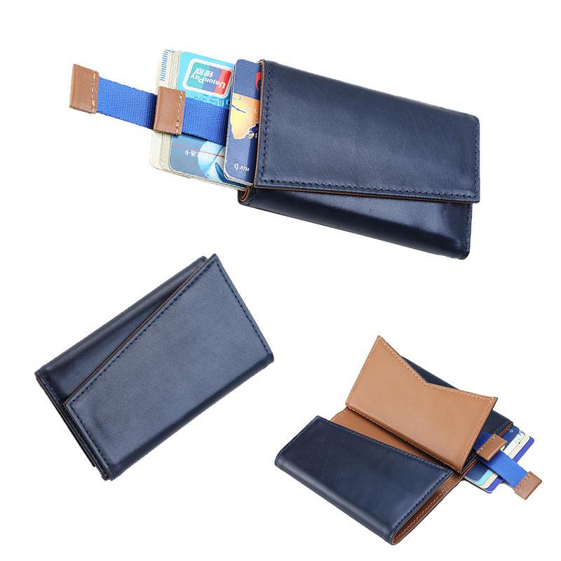 RFID Blocking Genuine Cowhide Leather Trifold Card Wallet for Men  LT-BMW008