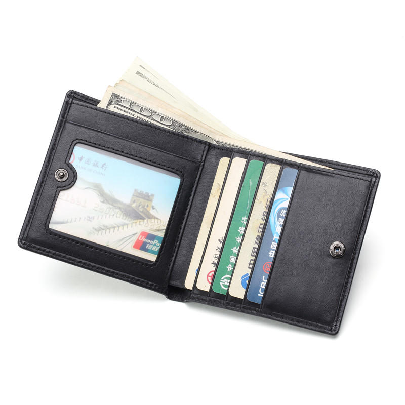Men Zipper Coin Wallet Real Cowhide Leather Multi Card Holder Short Clutch LT-BMW010
