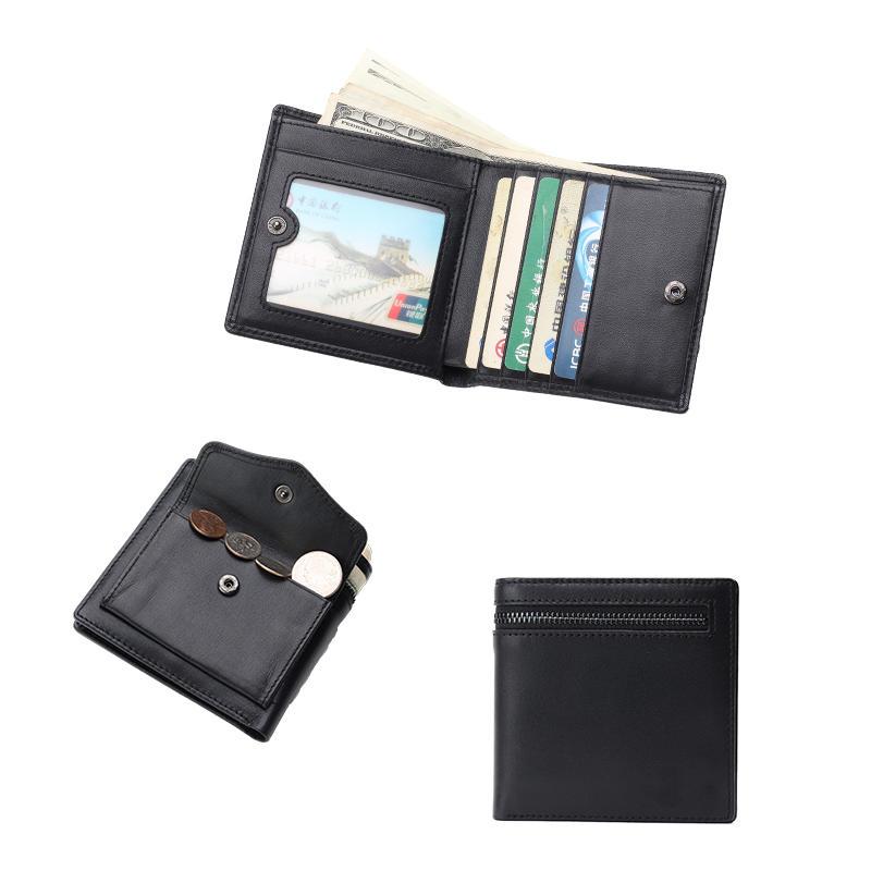 Men Zipper Coin Wallet Real Cowhide Leather Multi Card Holder Short Clutch LT-BMW010