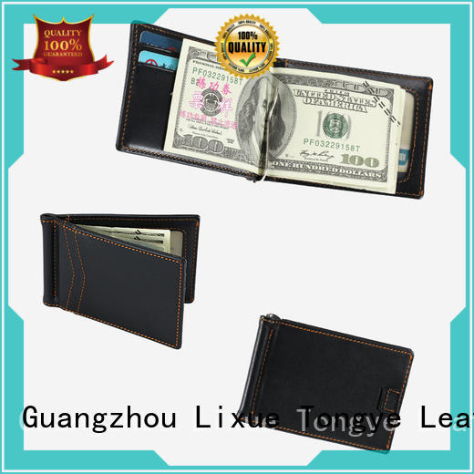LITONG super slim mens leather money clip wholesale for business
