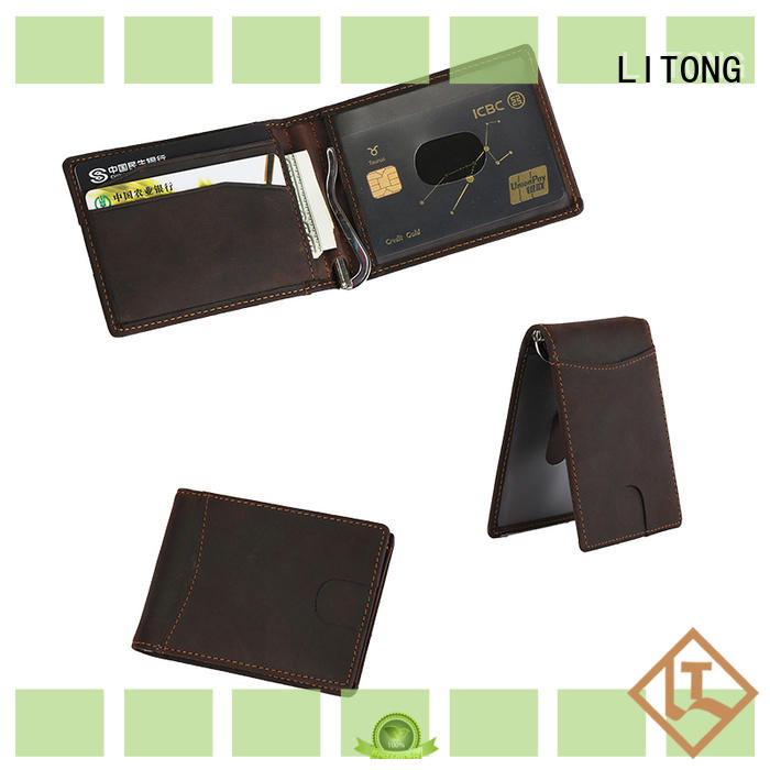LITONG elegant mens leather money clip certification for daily life