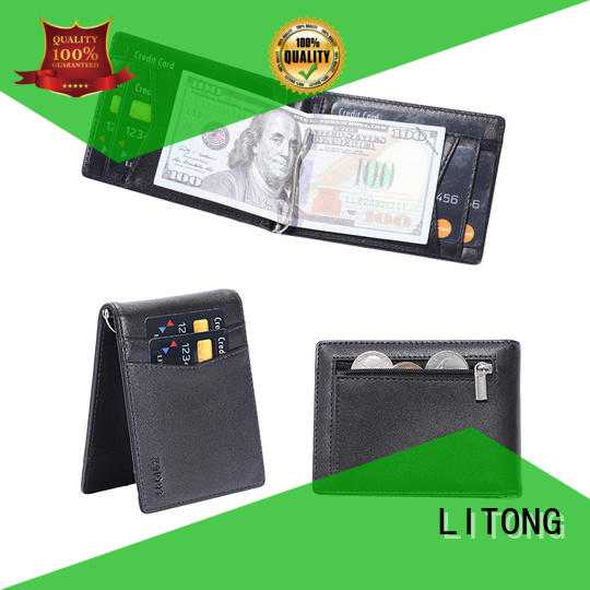 LITONG super slim best leather money clip owner for business
