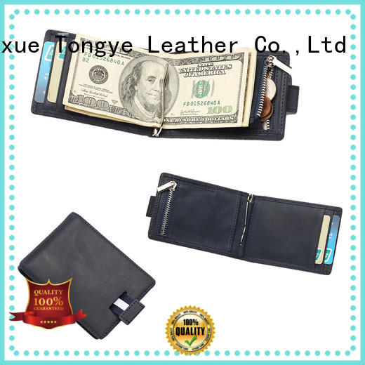 LITONG slim genuine leather money clip producer for promotional gift