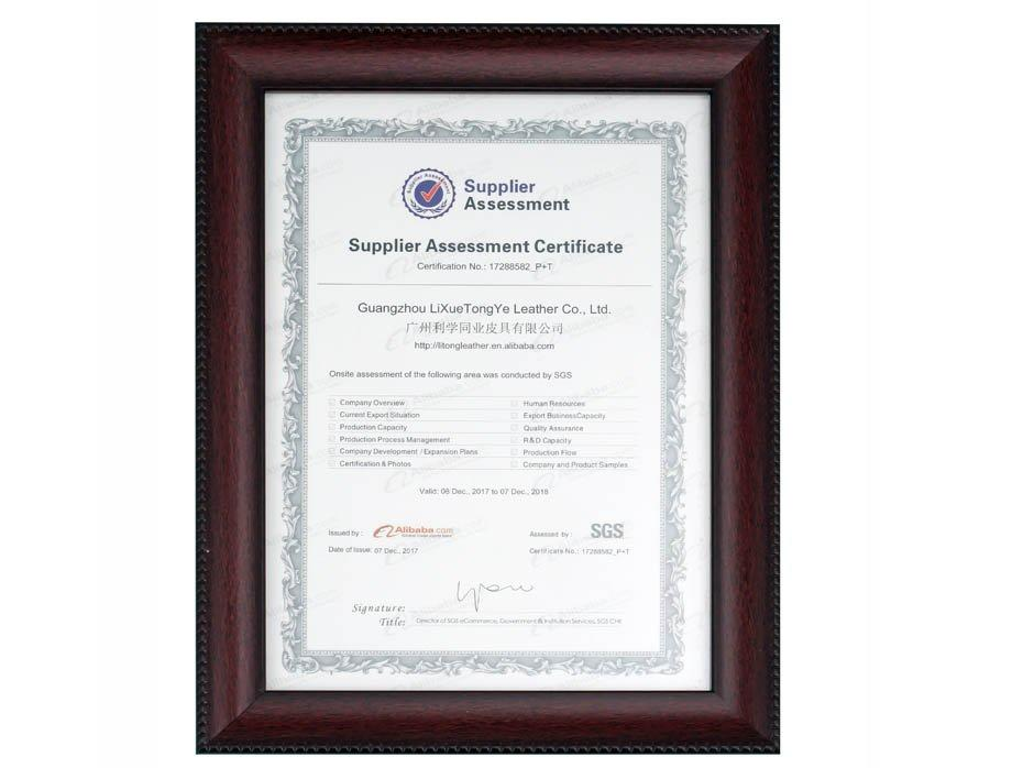 SGS Leather Supplier Assessment Certificate
