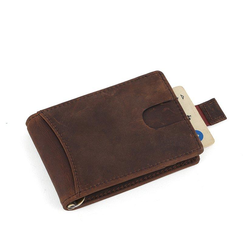genuine leather credit card holder Crazy horse mens leather money clip  LT-BMM026
