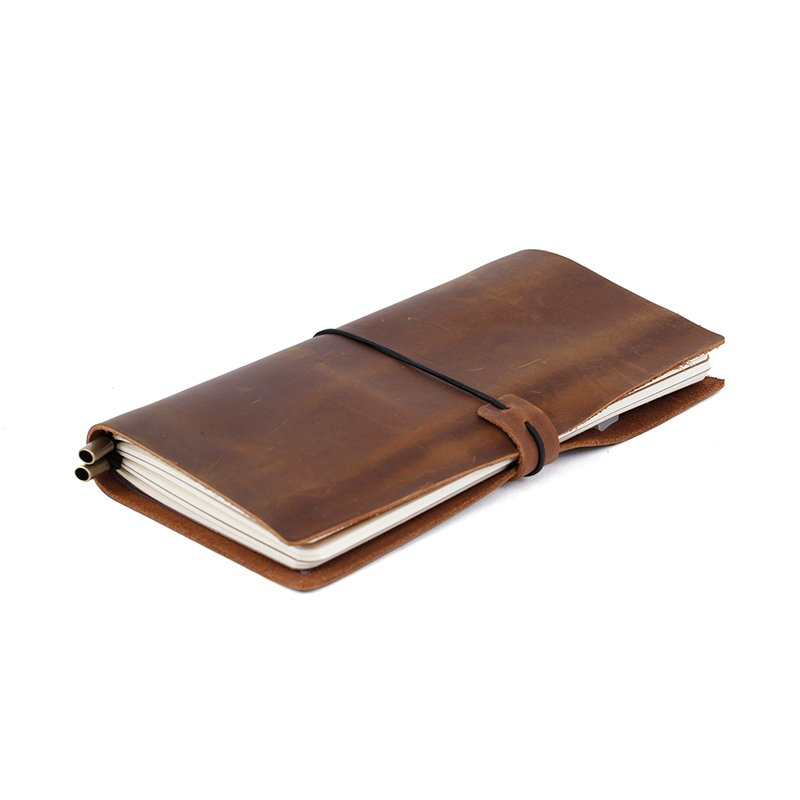 LITONG full grain genuine cow leather cover notebook travel journal with metal pen clip LT-LJ005 Leather Journals image1