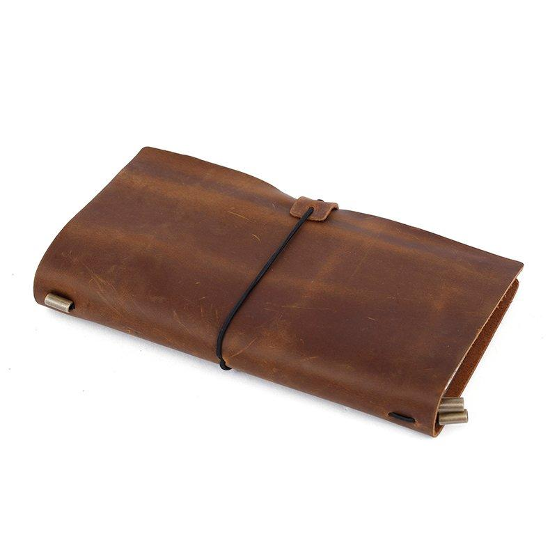 full grain genuine cow leather cover notebook travel journal with metal pen clip LT-BMJ018