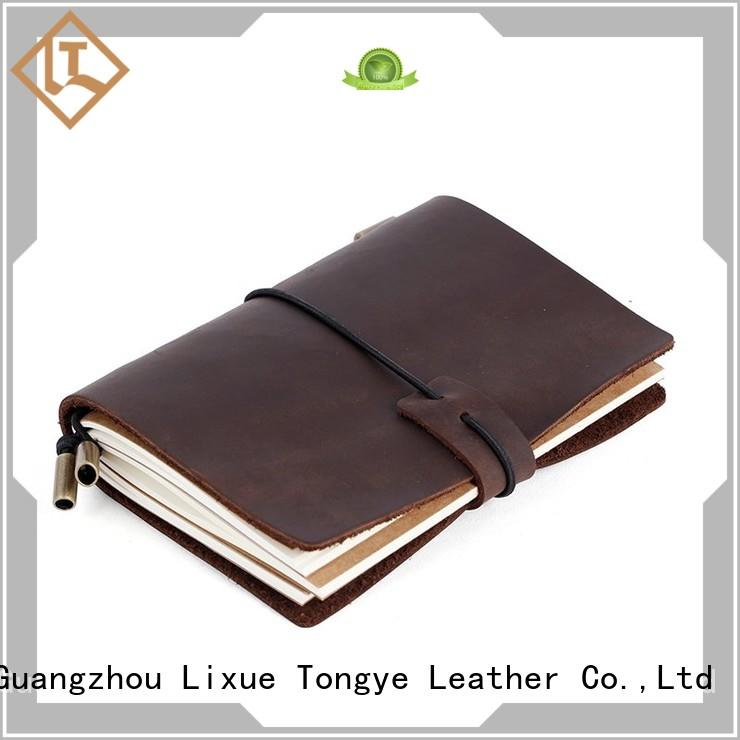 grain antique LITONG Brand leather bound notebook factory