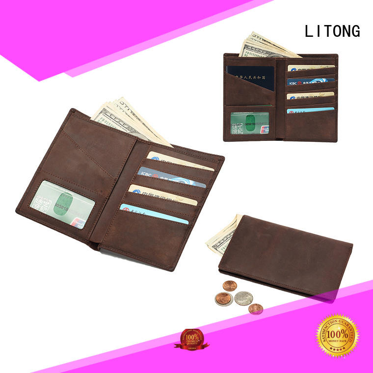 RFID mens leather passport wallet  LT-BMP003
