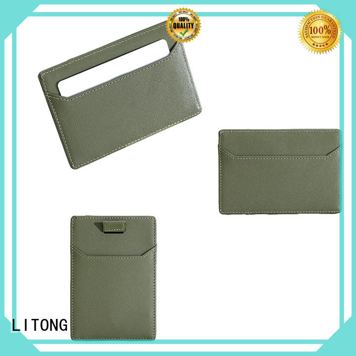 LITONG gifts leather id card holder dropshipping for RFID blocking