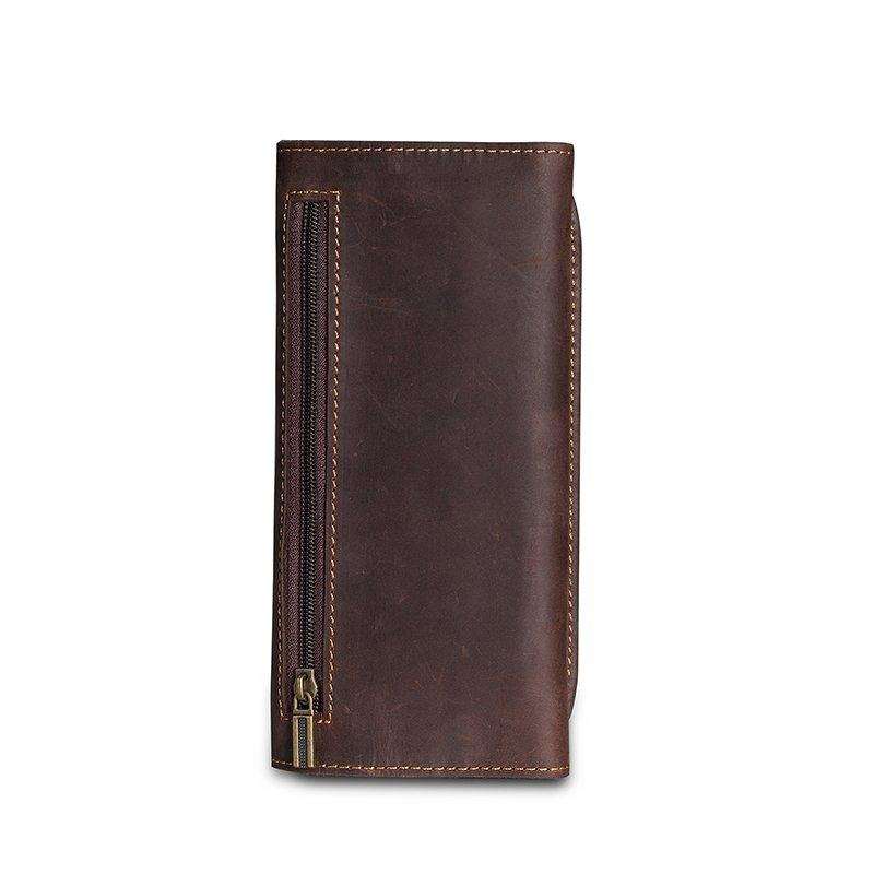 Full grain crazy horse genuine leather mens travel tobacco pouch leather laptop case sleeve leather bag