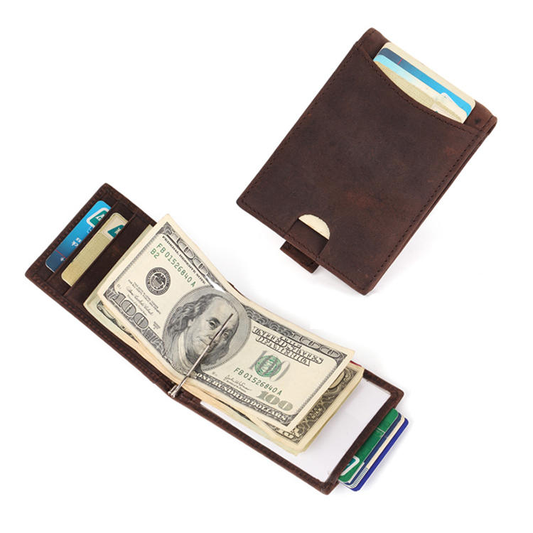Leather Factory Minimalist Leather Wallets Money Clip Wallet LT-BMM001